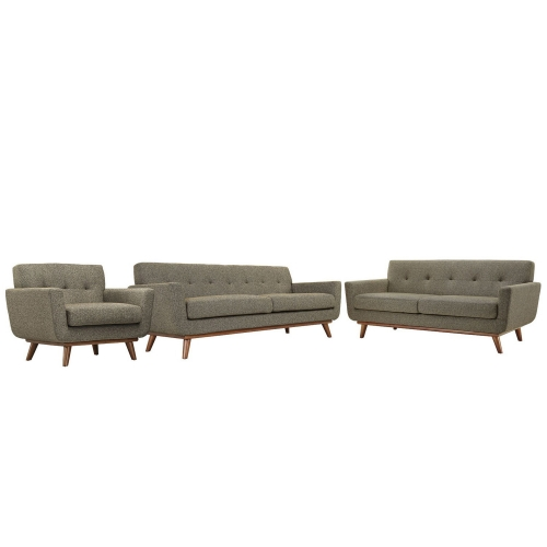 Engage 3 PC Sofa Loveseat and Armchair Set - Oatmeal