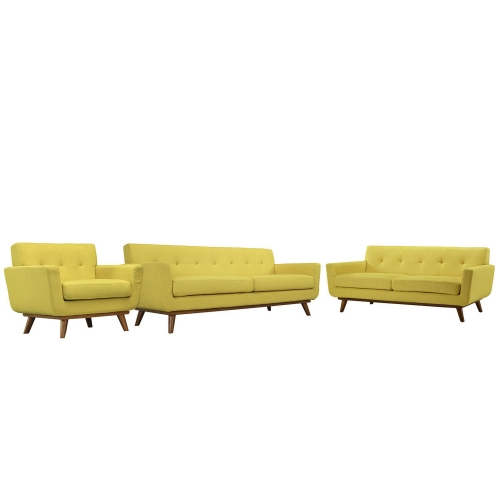 Engage 3 PC Sofa Loveseat and Armchair Set - Sunny