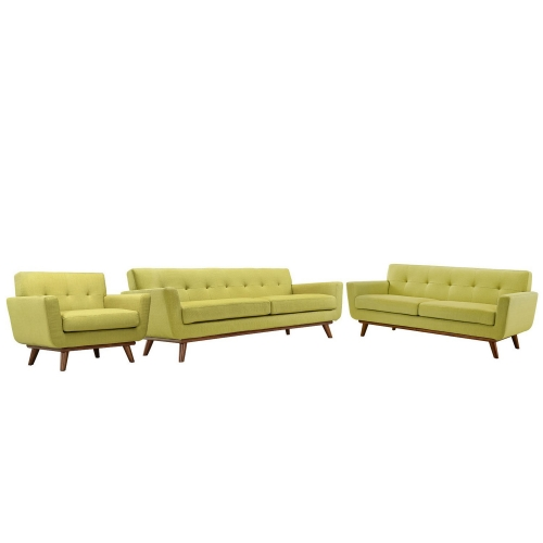 Engage 3 PC Sofa Loveseat and Armchair Set - Wheatgrass