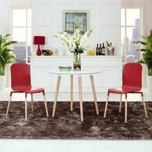 Stack 2PC Dining Chairs Wood Set - Red