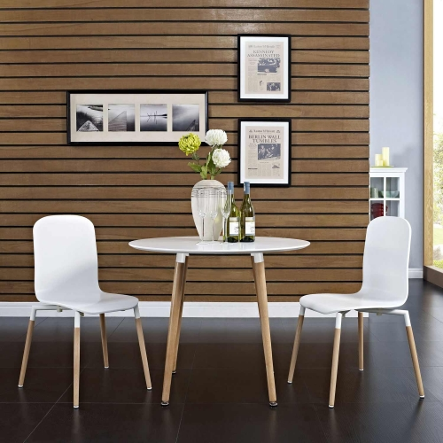 Stack 2PC Dining Chairs Wood Set - White