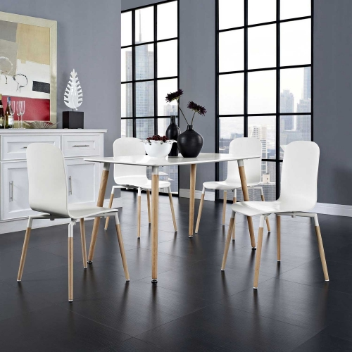 Stack 4PC Dining Chairs Wood Set - White