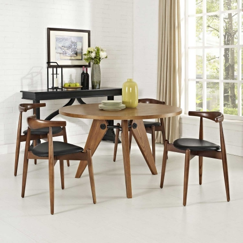 Stalwart 4PC Dining Side Chair Set - Dark Walnut/Black