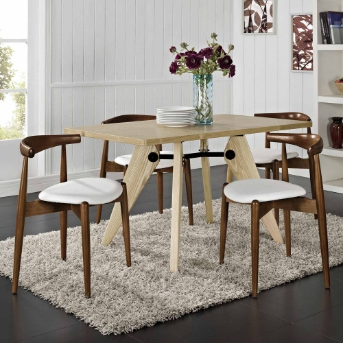 Stalwart 4PC Dining Side Chair Set - Dark Walnut/White