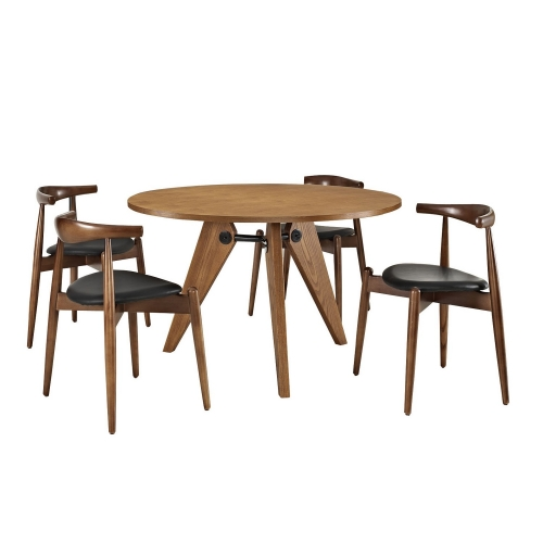 Stalwart 5PC Dining Chairs and Table Set - Dark Walnut/Black