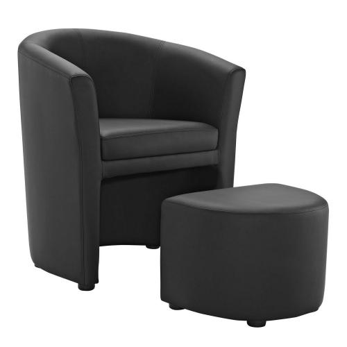 Divulge Armchair and Ottoman - Black