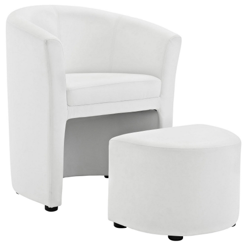 Divulge Armchair and Ottoman - White