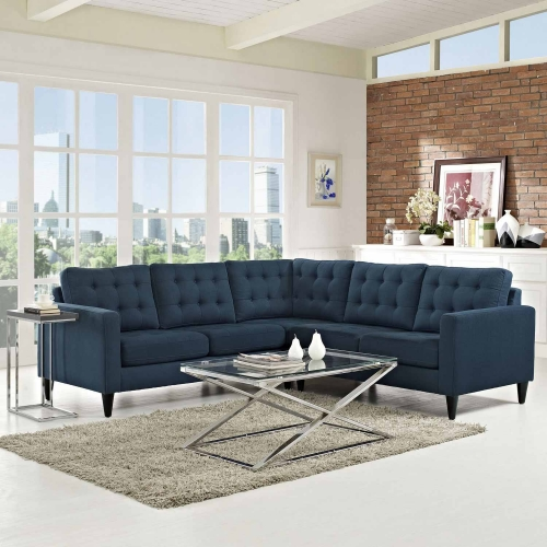 Empress 3 Piece Fabric Sectional Sofa Set - Azure