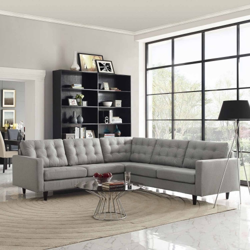 Empress 3 Piece Fabric Sectional Sofa Set - Light Gray