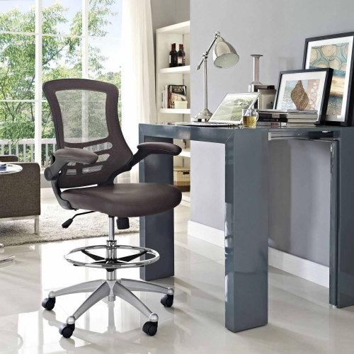 Attainment Vinyl Drafting Stool - Brown