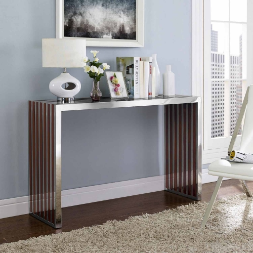 Gridiron Wood Inlay Console Table - Walnut