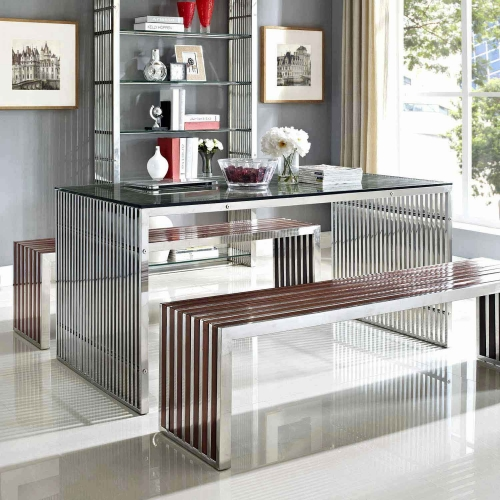 Gridiron Stainless Steel Dining Table - Silver