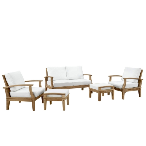 Marina 5 Piece Outdoor Patio Teak Sofa Set - Natural White