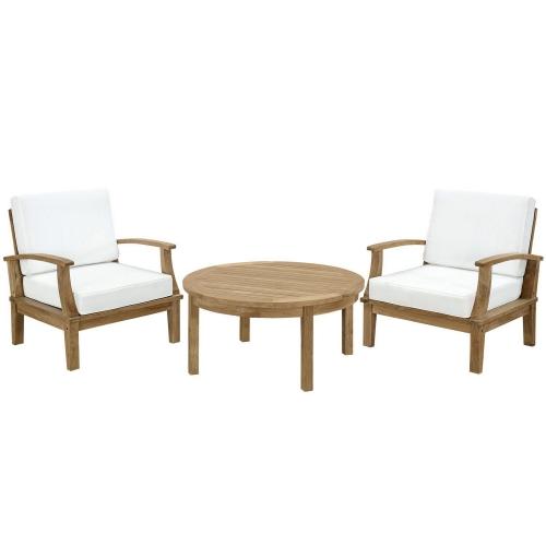 Marina 3 Piece Outdoor Patio Teak Sofa Set - Natural White