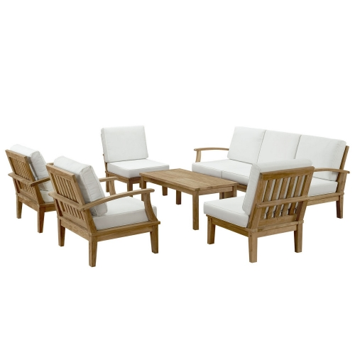 Marina 8 Piece Outdoor Patio Teak Sofa Set - Natural White