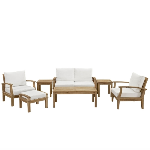 Marina 7 Piece Outdoor Patio Teak Sofa Set - Natural White