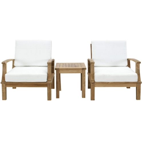 Marina 3 Piece Outdoor Patio Teak Sofa Set - Natural White