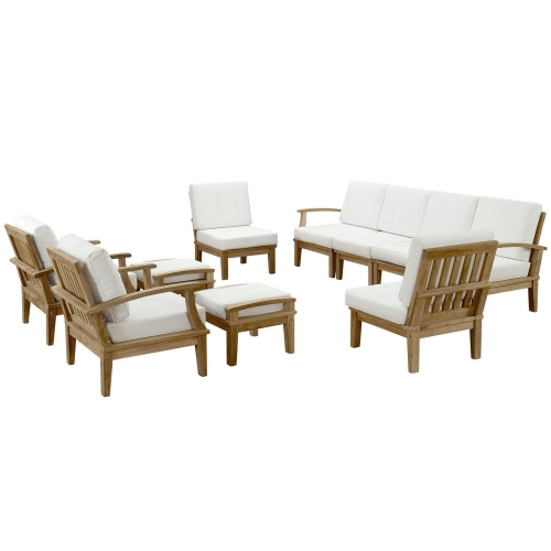 Marina 10 Piece Outdoor Patio Teak Sofa Set - Natural White