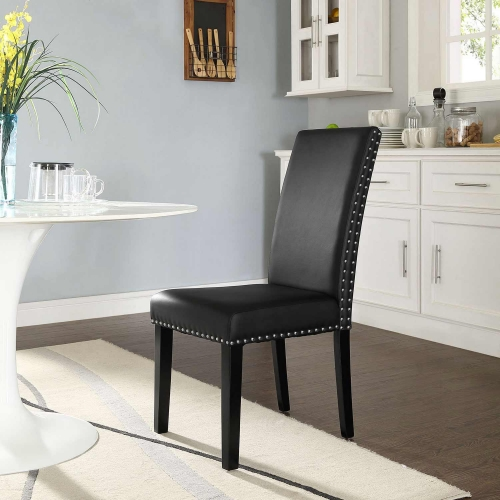 Parcel Dining Vinyl Side Chair - Black