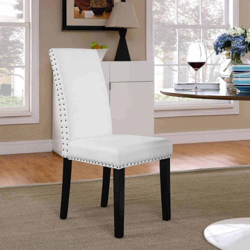 Parcel Dining Vinyl Side Chair - White