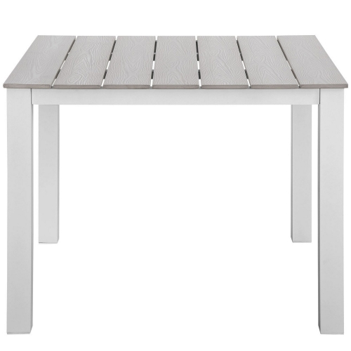 Maine 40 Outdoor Patio Dining Table - White/Light Gray