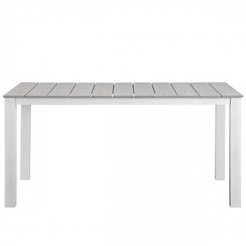 Maine 63 Outdoor Patio Dining Table - White/Light Gray