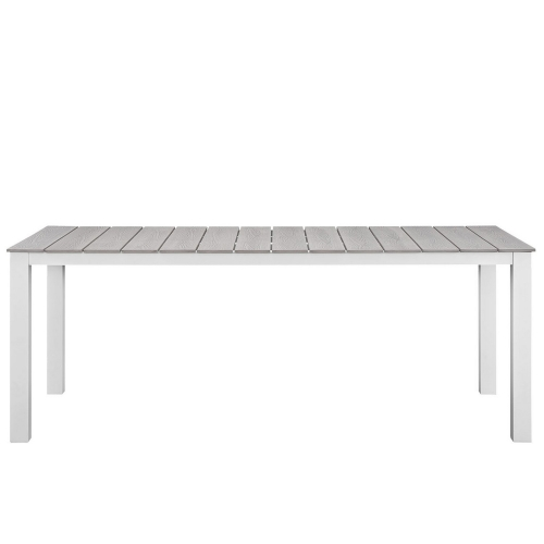 Maine 80 Outdoor Patio Dining Table - White/Light Gray