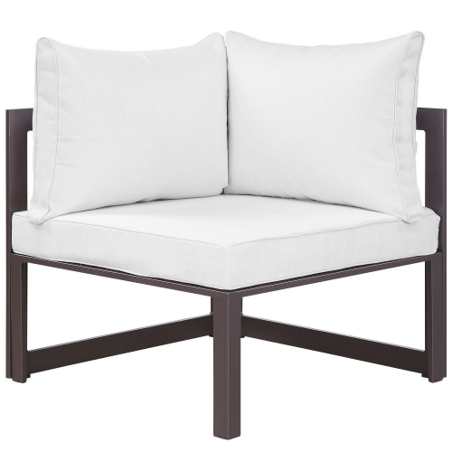 Fortuna Corner Outdoor Patio Armchair - Brown/White