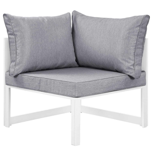 Fortuna Corner Outdoor Patio Armchair - White/Gray