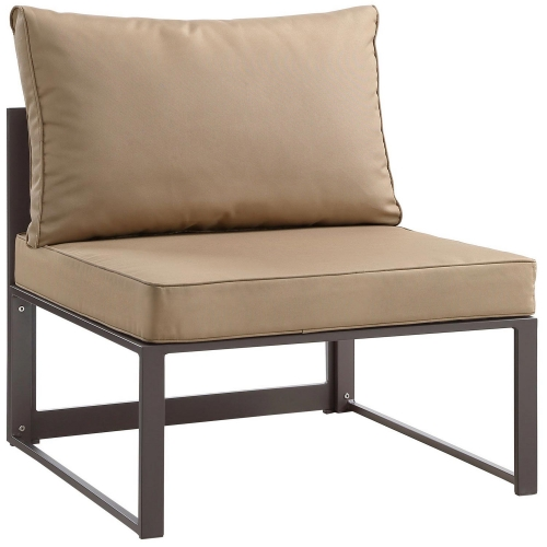 Fortuna Armless Outdoor Patio Sofa - Brown/Mocha