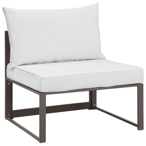 Fortuna Armless Outdoor Patio Sofa - Brown/White
