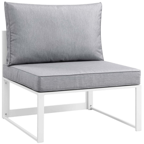 Fortuna Armless Outdoor Patio Sofa - White/Gray
