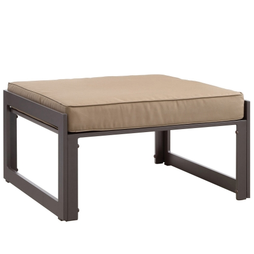 Fortuna Outdoor Patio Ottoman - Brown/Mocha