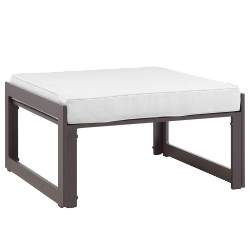 Fortuna Outdoor Patio Ottoman - Brown/White