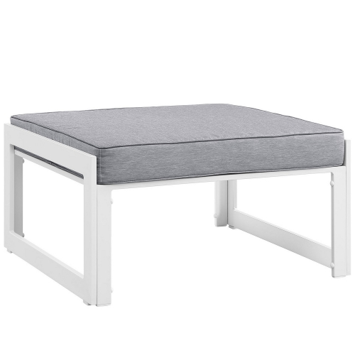 Fortuna Outdoor Patio Ottoman - White/Gray