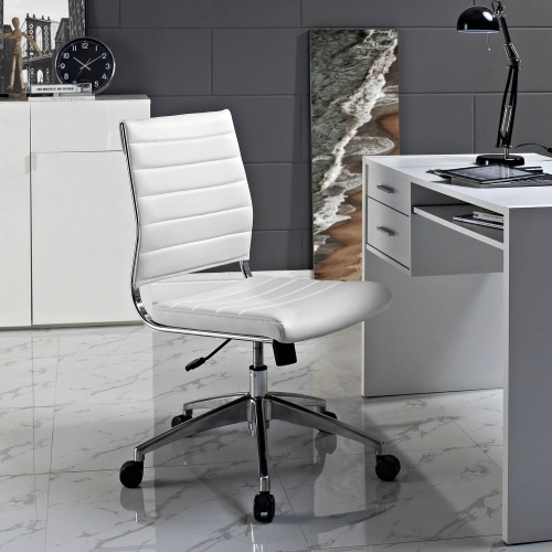Jive Armless Mid Back Office Chair - White