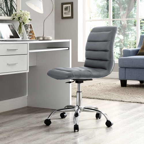 Ripple Armless Mid Back Office Chair - Gray