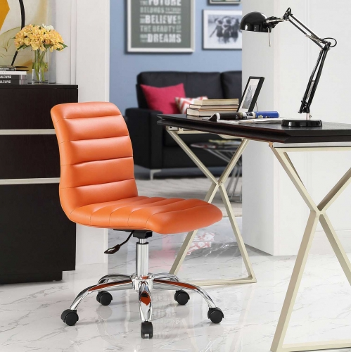 Ripple Armless Mid Back Office Chair - Orange