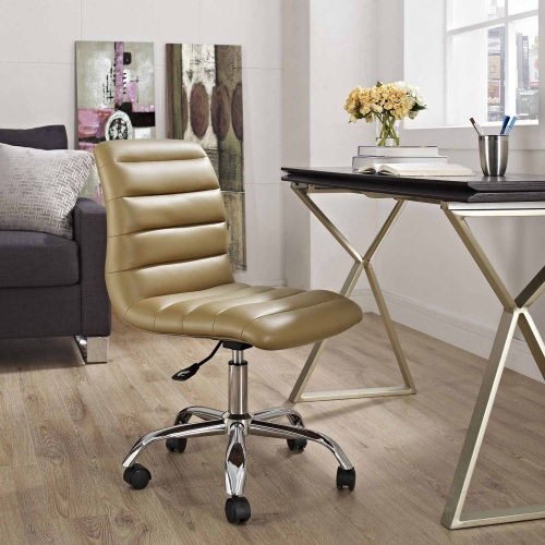 Ripple Armless Mid Back Office Chair - Tan