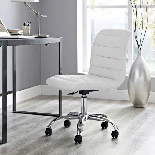 Ripple Armless Mid Back Office Chair - White