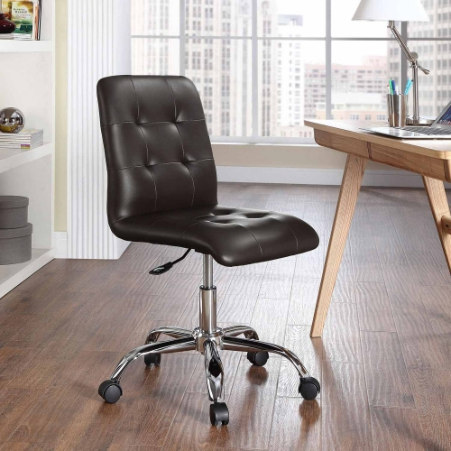 Prim Armless Mid Back Office Chair - Brown