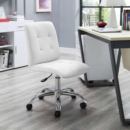 Modway Prim Armless Mid Back Office Chair - White