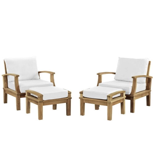 Marina 4 Piece Outdoor Patio Teak Sofa Set - Natural White