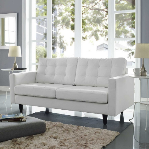 Empress Bonded Leather Loveseat - White