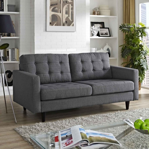 Empress Upholstered Loveseat - Gray