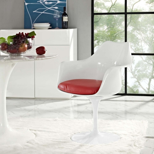 Lippa Dining Vinyl Armchair - Red