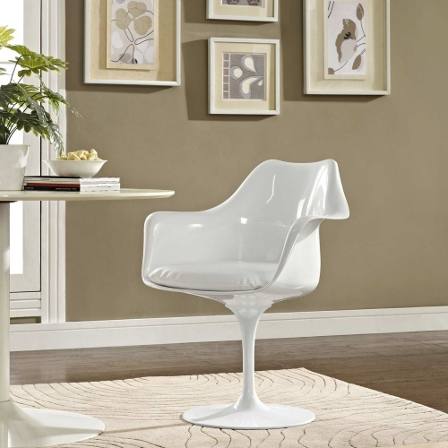 Lippa Dining Vinyl Armchair - White