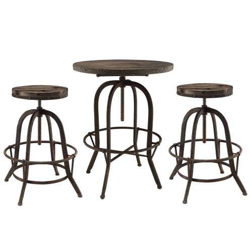 Sylvan 3 Piece Pub Set - Brown