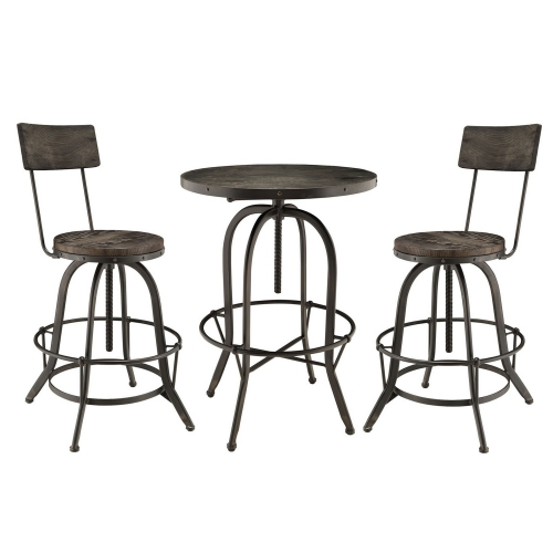 Gather 5 Piece Dining Set with Bar Stool - Black