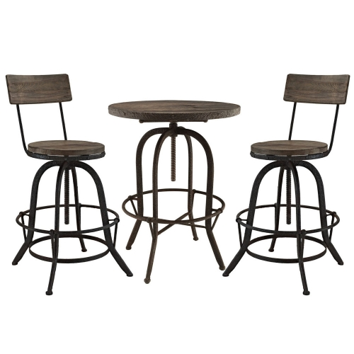 Gather 5 Piece Dining Set with Bar Stool - Brown
